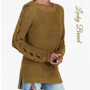 Lucky Brand Olive Green Knit Braid Sleeve Sweater